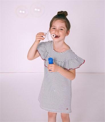 4a94063db2b97 フリル付きマリニエールワンピース(4才 104cm (4ans) オフホワイト/ネイビー)  女の子  PETIT BATEAU プチバトー オンラインブティック